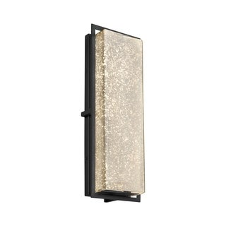 Justice Design Group Fusion Avalon Matte Black ADA LED Outdoor Wall Sconce, Mercury Shade