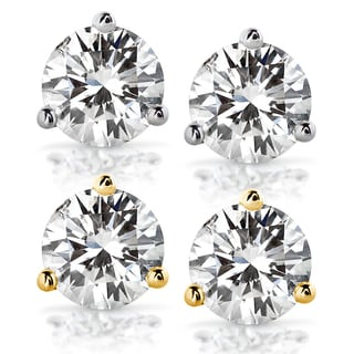 Annello by Kobelli 14k Gold 3 Carats TGW Round Brilliant-cut 7.5MM Moissanite (H-I) Classic Solitaire Stud Earrings