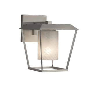 Justice Design Fusion Patina Brushed Nickel Large Outdoor Wall Sconce - Cylinder with Flat Rim