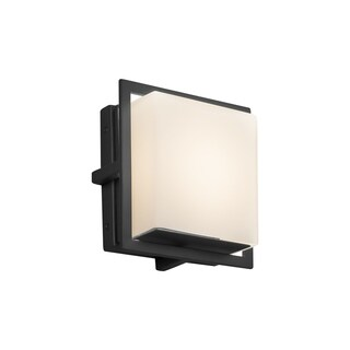 Justice Design Group Fusion Avalon Matte Black ADA LED Outdoor Wall Sconce, Square Opal Shade