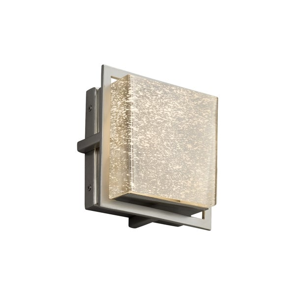 Justice Design Group Fusion Avalon Brushed Nickel ADA LED Outdoor Wall Sconce, Square Mercury Shade