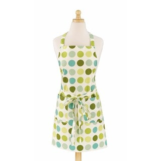 Dotted Green Modern Print Cotton Butcher's Kitchen Apron