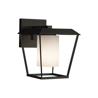 Justice Design Group Fusion Patina 1-light Matte Black Outdoor Wall Sconce, Opal Cylinder - Flat Rim Shade