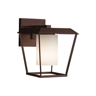 Justice Design Group Fusion Patina 1-light Dark Bronze Outdoor Wall Sconce, Opal Cylinder - Flat Rim Shade
