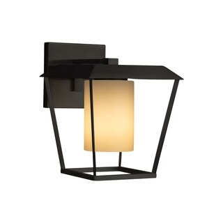 Justice Design Group Fusion Patina 1-light Matte Black Outdoor Wall Sconce, Almond Cylinder - Flat Rim Shade