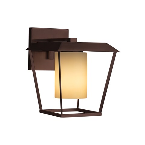 Justice Design Group Fusion Patina 1-light Dark Bronze Outdoor Wall Sconce, Almond Cylinder - Flat Rim Shade
