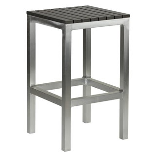 Knotts Aluminum Slate Grey Poly Wood Outdoor Backless Counter Stool by Havenside Home