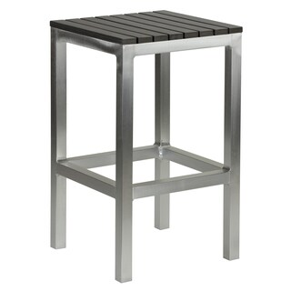 Haven Aluminum Outdoor Backless Counter Stool in Slate Grey Poly Wood in Brushed Aluminium, 14x14x