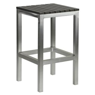 Haven Aluminum Outdoor Backless Counter Stool in Slate Grey Poly Wood in Brushed Aluminium 14x14x  sc 1 st  Overstock.com & Aluminum Bar u0026 Counter Stools - Shop The Best Deals for Nov 2017 ... islam-shia.org