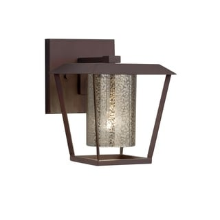 Justice Design Fusion Patina Dark Bronze Small Outdoor Wall Sconce - Mercury Cylinder with Flat Rim