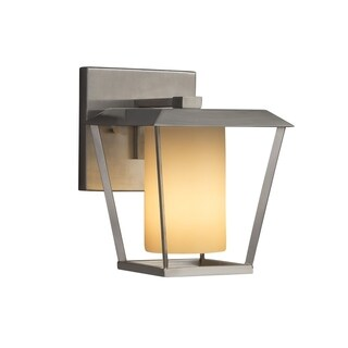 Justice Design Group Fusion Patina 1-light Brushed Nickel Small Outdoor Wall Sconce, Almond Shade