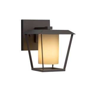 Justice Design Group Fusion Patina 1-light Matte Black Small Outdoor Wall Sconce, Almond Shade