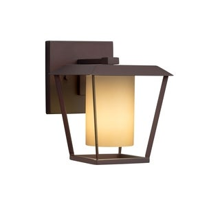 Justice Design Group Fusion Patina 1-light Dark Bronze Small Outdoor Wall Sconce, Almond Shade