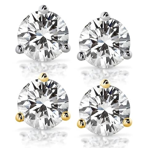 Annello by Kobelli 14k Gold 3 4/5 Carats TGW Round Brilliant-cut 8MM Moissanite (H-I) Stud Earrings