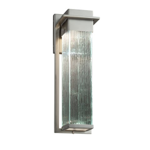 Justice Design Group Fusion Pacific Brushed Nickel Outdoor Wall Sconce, Rain Shade