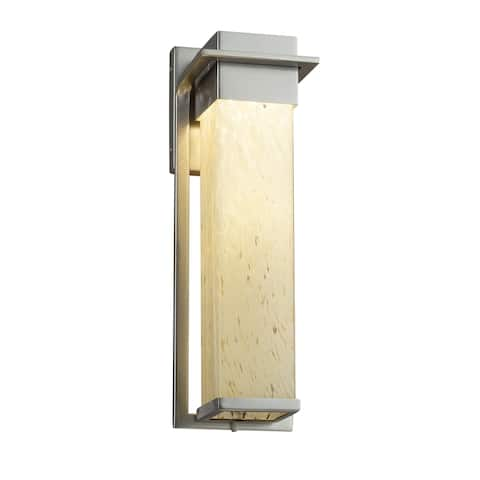 Justice Design Fusion Pacific Brushed Nickel Outdoor Wall Sconce, Droplet Shade
