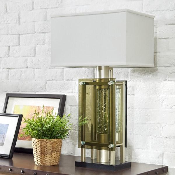 Elda Rectangular Shade Green Glass Nickel Finish Table Lamp by iNSPIRE Q Bold