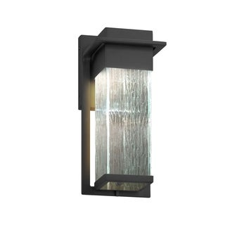 Justice Design Group Fusion Pacific Matte Black Small Outdoor Wall Sconce, Rain Shade
