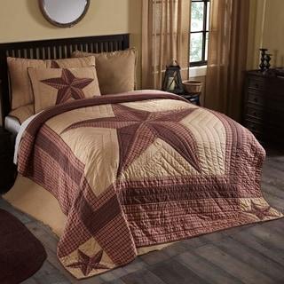 Tan Primitive Bedding VHC Landon Quilt Cotton Star Patchwork