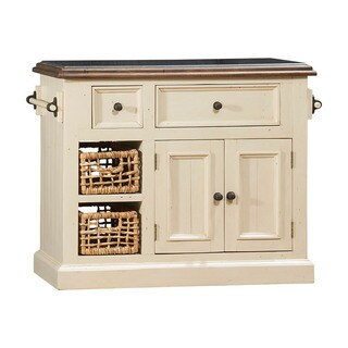 Hillsdale Furniture White Wood Granite-top Kitchen Island with 2 Baskets
