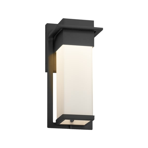 Justice Design Group Fusion Pacific Matte Black Small Outdoor Wall Sconce Opal Shade