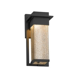 Justice Design Group Fusion Pacific Matte Black Small Outdoor Wall Sconce, Mercury Shade