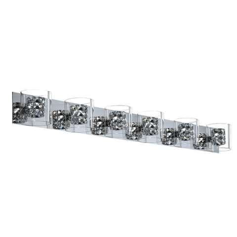 Finesse Decor Chrome and Crystal 6-light Vanity Light Fixture