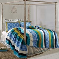 Blue Coastal Bedding VHC Laguna Quilt Cotton Striped Patchwork Cambric