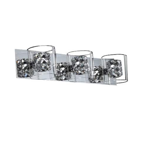 Finesse Decor Chrome 3-light Vintage Vanity Fixture with Crystal Shades