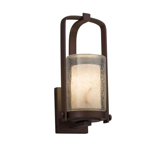 Justice Design Group LumenAria Atlantic Dark Bronze Small Outdoor Wall Sconce, Faux Alabaster Cylinder - Flat Rim Shade