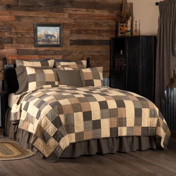 Black Primitive Bedding VHC Kettle Grove Quilt Cotton Patchwork