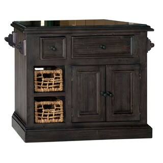 Hillsdale Furniture Weathered Grey Wood Granite Top Kitchen Island with 2 Baskets
