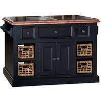 Hillsdale Black Finish Granite Top Kitchen Island with 2 Baskets