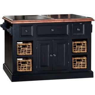 Hillsdale Black Finish Granite Top Kitchen Island with 2 Baskets