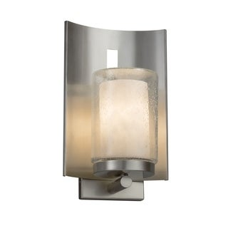 Justice Design Clouds Embark Brushed Nickel Outdoor Wall Sconce - Cylinder with Flat Rim