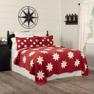 Red Farmhouse Bedding VHC Kent Quilt Cotton Star Patchwork Chambray