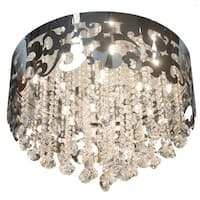 Finesse Lighting Grand Chrome Crystal Crown Flush-mount Fixture