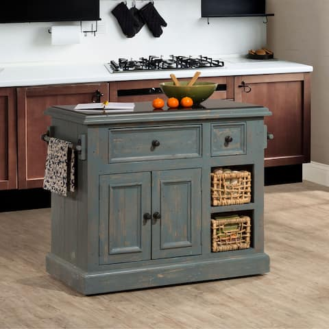 The Curated Nomad Descanso Nordic Blue Kitchen Island with Baskets