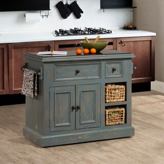 The Gray Barn Firebranch Nordic Blue Kitchen Island with Baskets