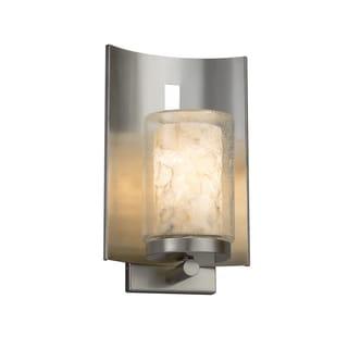 Justice Design Alabaster Rocks! Embark Brushed Nickel Outdoor Wall Sconce - Cylinder with Flat Rim