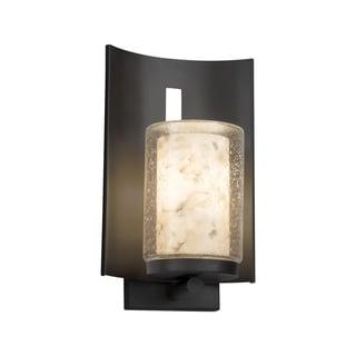 Justice Design Alabaster Rocks! Embark Matte Black Outdoor Wall Sconce - Cylinder with Flat Rim