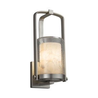 Justice Design Alabaster Rocks! Atlantic Brushed Nickel Small Outdoor Wall Sconce - Cylinder with Flat Rim