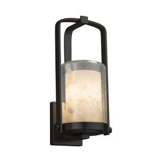 Justice Design Alabaster Rocks! Atlantic Matte Black Small Outdoor Wall Sconce - Cylinder with Flat Rim