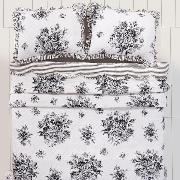 Josephine Cotton Black Quilt (Shams Not Included)