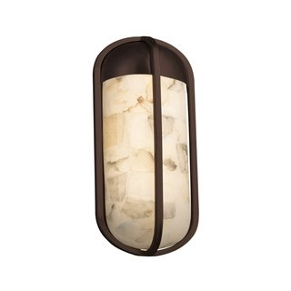 Justice Design Alabaster Rocks! Starboard Dark Bronze Small LED ADA Outdoor Wall Sconce