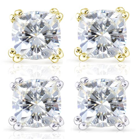 Annello by Kobelli 14k Gold 4 Carats TGW Cushion-cut 7.5MM Moissanite (H-I) Solitaire Stud Earrings