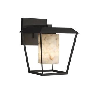 Justice Design Alabaster Rocks! Patina Matte Black Large Outdoor Wall Sconce,Cylinder with Flat Rim