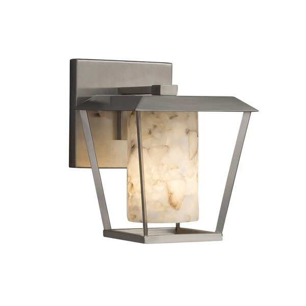 Justice Design Group Alabaster Rocks Patina 1-light Brushed Nickel Outdoor Wall Sconce, Cylinder - Flat Rim Shade