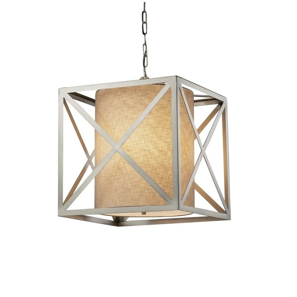 Justice Design Group Textile Hexa 4-light Brushed Nickel Pendant, Cream Shade
