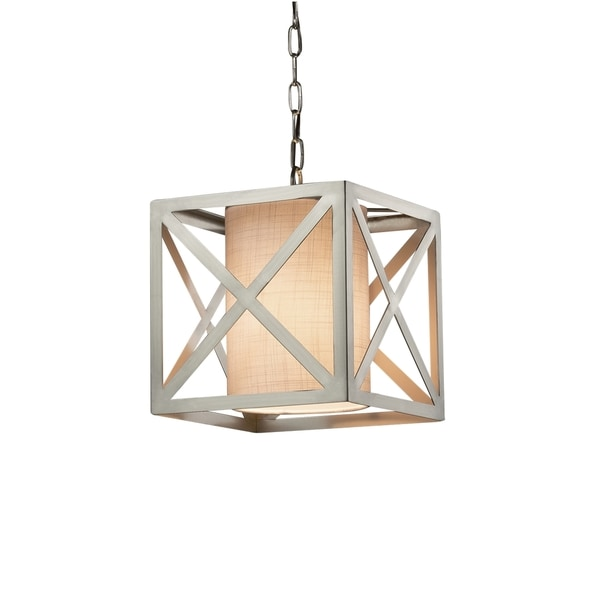 Justice Design Group Textile Hexa 1-light Brushed Nickel Pendant, White Shade